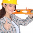 Stock Photo: Carpenter with spirit level