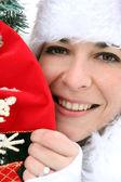 Jolly woman celebrating Christmas — Stock Photo