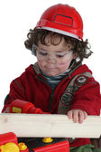 Boy playing builder — Stock Photo