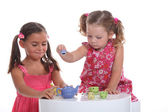 Little girl tea party — Foto Stock