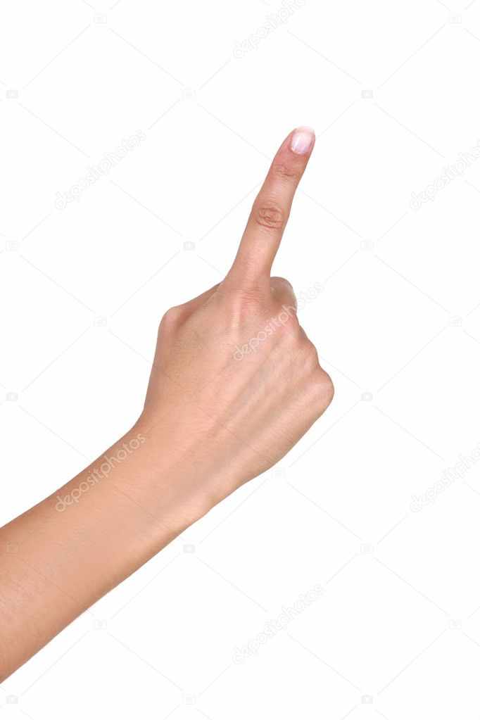 Female hand with outstretched index finger — Stock Photo #9993563