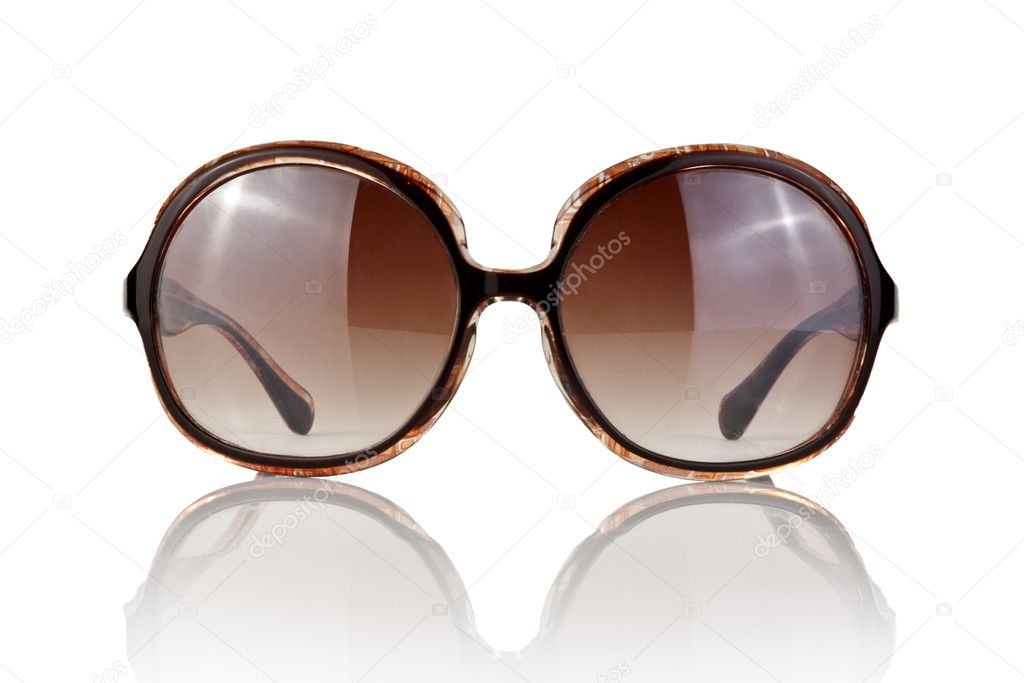 Modern brown female sunglasses isolated on white — Stock Photo #9903331