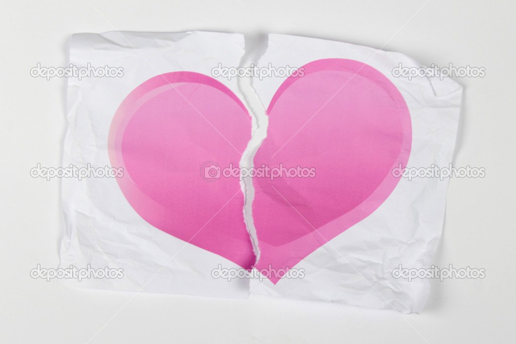 Pink paper  heart  torn apart  Stock Photo #8720780