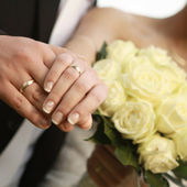Bride and Groom Wedding Rings — Stock Photo