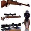 Stock Photo: Photo set of sniper rifle with telescopic sight