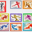 USSR CIRCA 1980: set of old Soviet brands of sports topics — Stock Photo