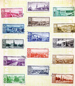 USSR - CIRCA 1958: Soviet stamps with the capitals of the republ — Stock Photo
