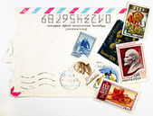 Concept of the old Soviet envelopes and antique stamps — Stock Photo