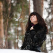 Portrait of a young girl on a background of a winter forest — Stock Photo #8373264