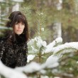 Portrait of a young girl on a background of a winter forest — Stock Photo #8373316