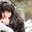 Foto Stock: Portrait of young girl with snow in her hair