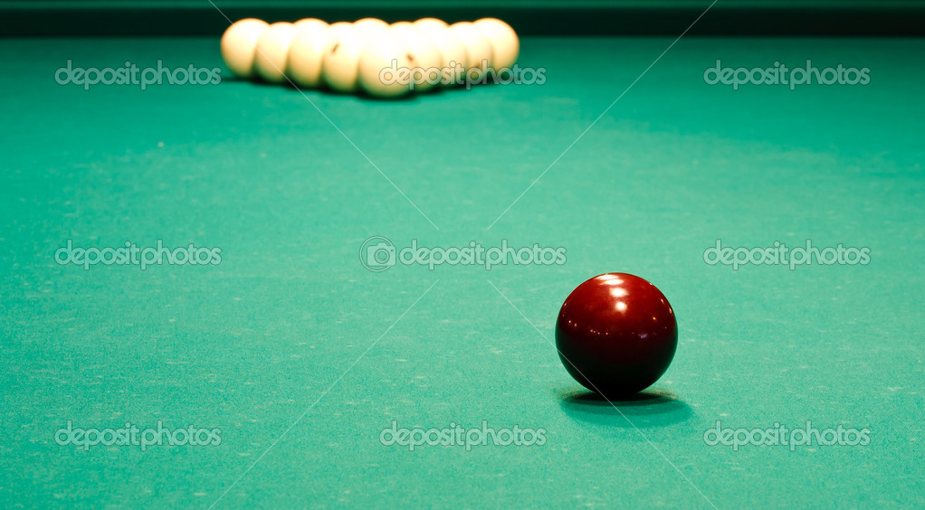 Russian billiard table with balls close up — Stock Photo #9701819