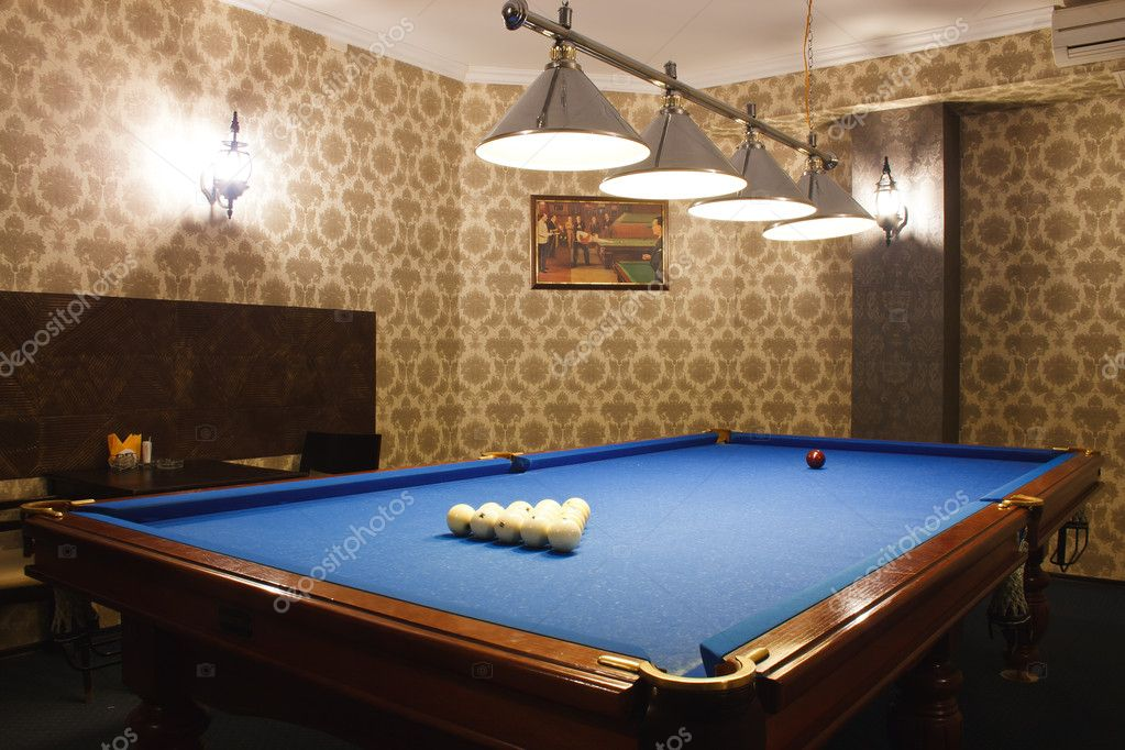 Interior of the billiard room in the VIP nightclub  Stock Photo #9701828
