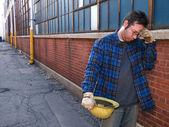 Nezaměstnaný dělník — Stock fotografie