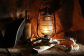 Pirate of the still life of wine, hats, ropes, sinks, fixtures, — Stock Photo
