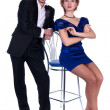 Stock Photo: Nice man and a woman in a black and blue dress