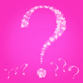 Valentines Question marks on pink background — Stock Photo