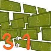 Plasticine Soccer football game result 3:1 — Stock Photo