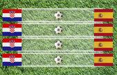 Plasticine Football flag on grass background for score (Group C) — Foto de Stock