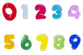 Alphabet letters number jelly stick on white background ( 1 2 3 4 5 6 7 8 9 ) — Stock Photo