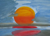 The sun Water Color Paint Texture and Background — Stock Photo