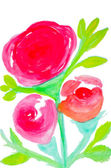 Color flowers in watercolor hand painted, isolated — Stock fotografie