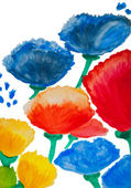 Color flowers in watercolor hand painted, isolated — Photo