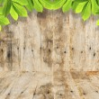 Green leaves on wood background , Frame — Stock Photo