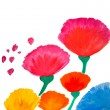 Color flowers in watercolor hand painted, isolated - Stock Photo