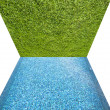 Green grass with pool texture and background — Stock Photo