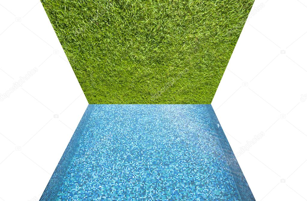 Green grass with pool texture and background — Stock Photo #10684027