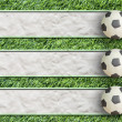Royalty-Free Stock Photo: Plasticine Football on grass and  paper background