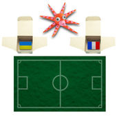 Squid Football with the flag Ukraine and France — Stockfoto