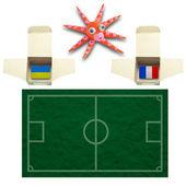 フラグを使ってイカ サッカー ウクライナ、フランス — ストック写真