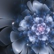 Beautiful abstract fractal flower, blue color - Stock Photo