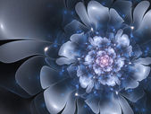 Beautiful abstract fractal flower, blue color — Zdjęcie stockowe