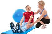 Senior man doing fitness exercise — Stock Photo