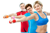Seniors doing fitness exercises — Stock Photo