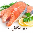 Fresh salmon with parsley and lemon slices — Stock Photo #9177924
