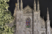 Cathedral steeples at Christmas, Milan — Stock Photo