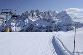 Laresei ski-run at falcade, dolomites — Stock Photo
