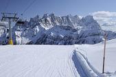 Laresei ski-run at falcade, dolomites — Stock Photo