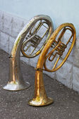 Two old trumpets — Stock Photo