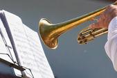 Müzisyen el üzerinde Trampet çalıyor — Stok fotoğraf