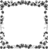 Historical frame in gray with floral ornaments in square format — Stock Vector