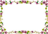 Historical frame in color with floral ornaments in DIN format — Stock Vector