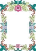 Historical frame in pastel with floral ornaments in DIN format — Stock Vector