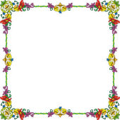 Historical frame in color with floral ornaments in square format — Stock Vector