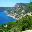 Cliffs and coast to a bay on the island of Ibiza - Stock Photo