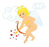 Valentine's Day baby Cupid with bow — Stock Vector